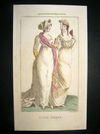 Lady's Magazine 1801 H/Col Regency Fashion Print. Paris Dress 11 | Albion Prints